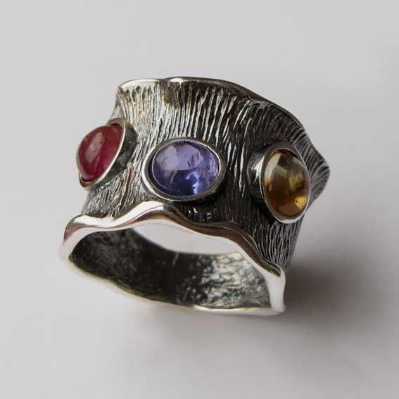 Кольцо с кианитом, турмалином, цитрином, арт.ВОЛ36