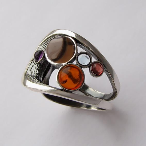 Кольцо с раухтопазом, янтарем, арт. НЛН37