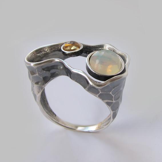 Кольцо с опалом, цитрином, арт.2СДН3