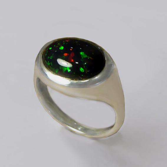 Кольцо с опалом черным, арт. КОВ310
