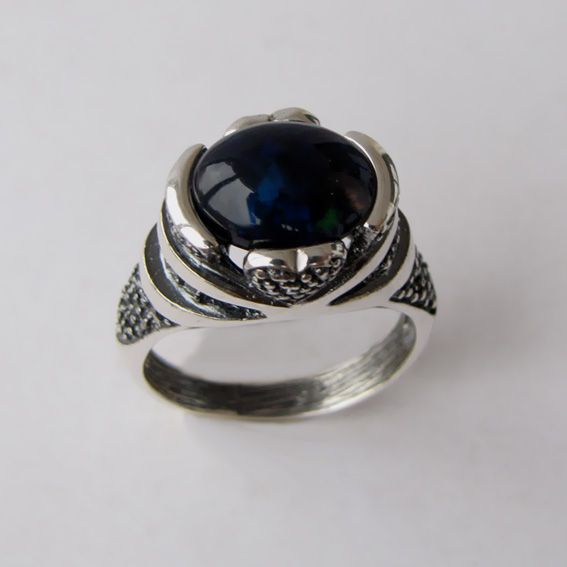 Кольцо с опалом черным, арт.ПЕБА3