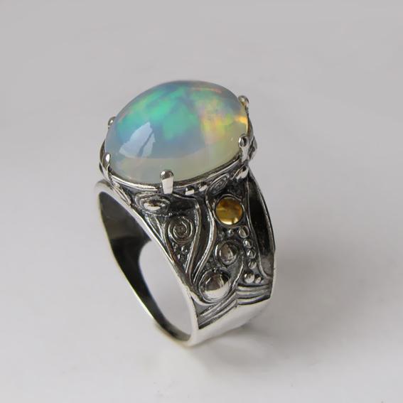 Кольцо с опалом, цитрином, арт.ПЕОР312