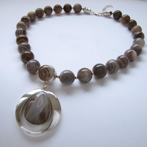 Ожерелье БК10 с  ботсванским агатом
