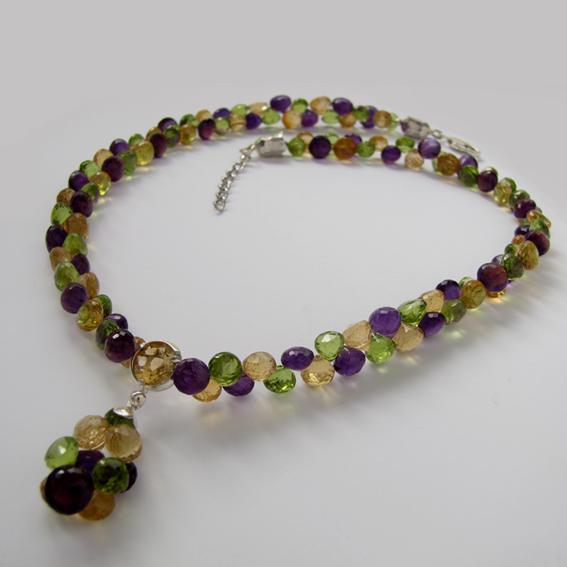 Ожерелье с аметистом, цитрином, хризолитом, арт.ГР10