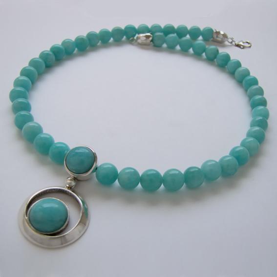 Ожерелье с амазонитом, арт.КК10