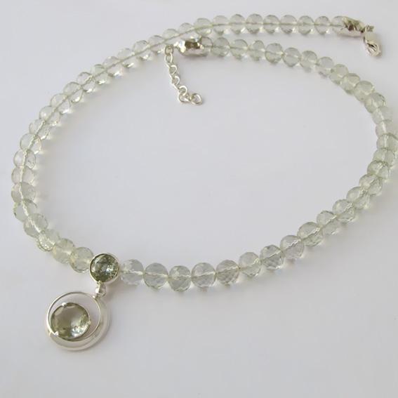 Ожерелье с аметистом зеленым, арт.ККГ10