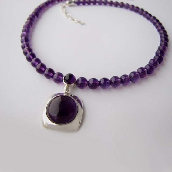 Ожерелье с аметистом, арт.КПП1015