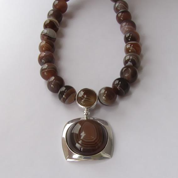 Ожерелье с  ботсванским агатом КПП10