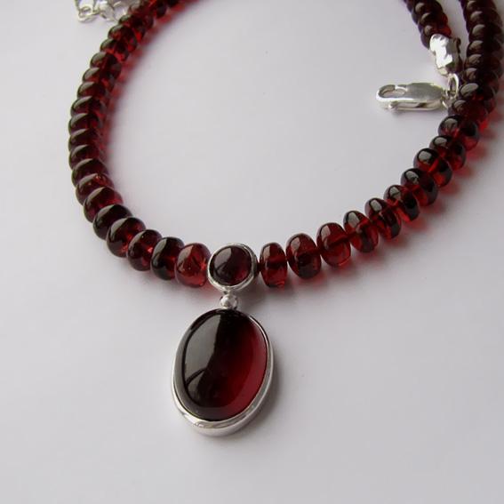 Ожерелье с гранатом, арт.ОВ1014-2