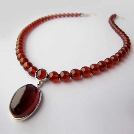 Ожерелье с гранатом, арт.ОВ1014
