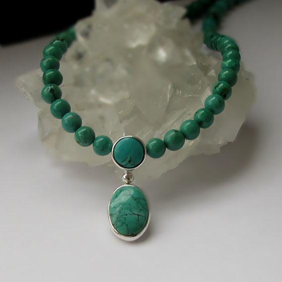 Ожерелье с бирюзой, арт. ОВ10-2