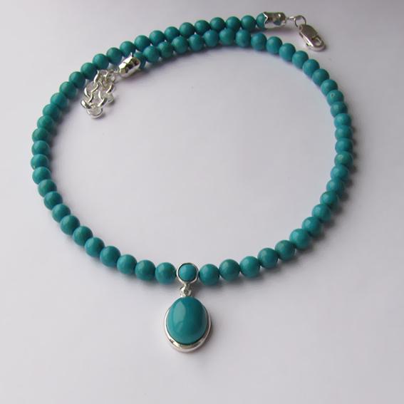 Ожерелье с бирюзой, арт. ОВ10