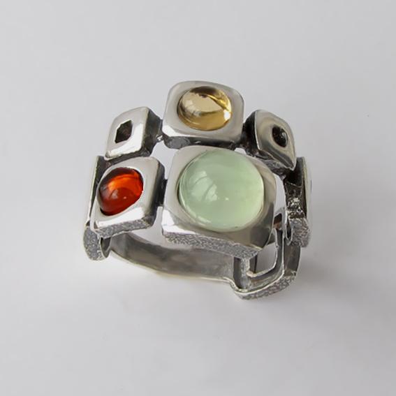 Кольцо с пренитом, цитрином, янтарем, арт.8КВ3