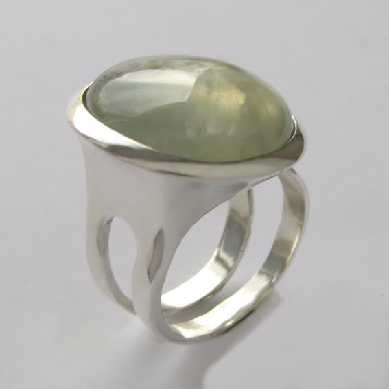 Кольцо с пренитом, арт.БА3Н