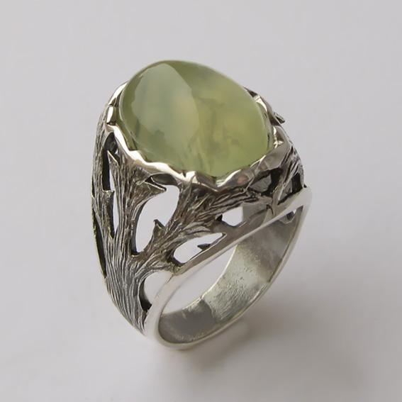 Кольцо с пренитом, арт.ЛИН312