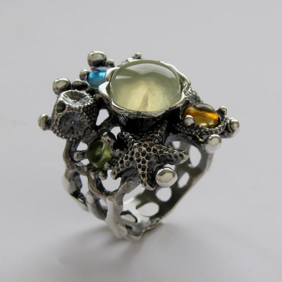 Кольцо с пренитом, цитрином, топазом, хризолитом, арт. МЗ3