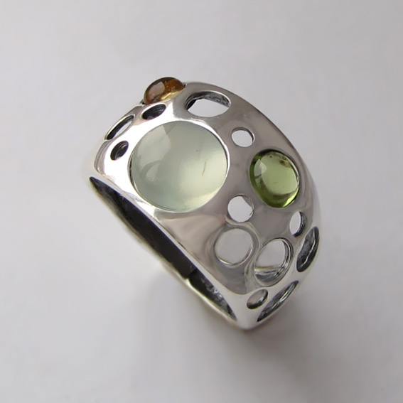 Кольцо с пренитом, хризолитм, цитрином, арт.НЛ3