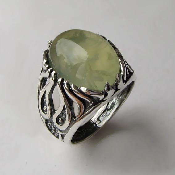Серебряное кольцо с пренитом, арт. ОГ3