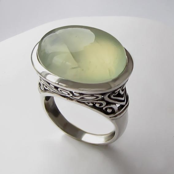 Кольцо с пренитом, арт. ОВВ3