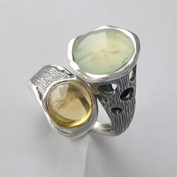 Кольцо с пренитом, цитрином, арт. Ш3