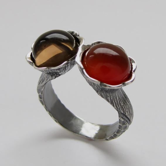 Кольцо с сердоликом, раухтопазом, арт.2ЛА3