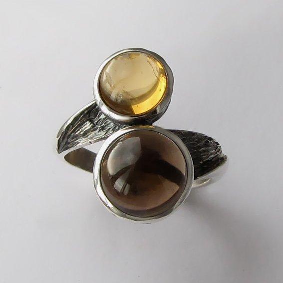 Кольцо с раухтопазом и цитрином, арт. 2ПФ3