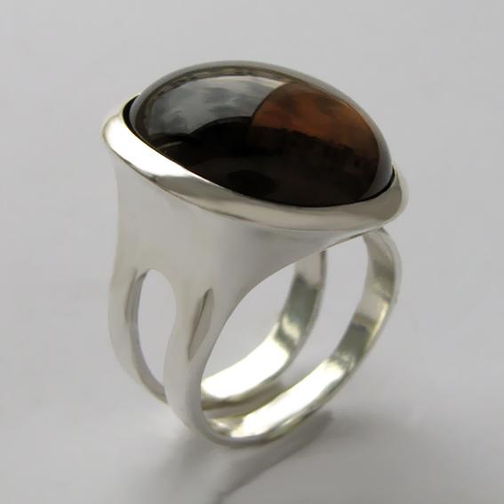 Кольцо БА3Н с раухтопазом