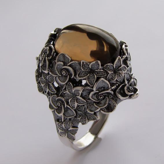 Серебряное кольцо с раухтопазом, арт.БУК3
