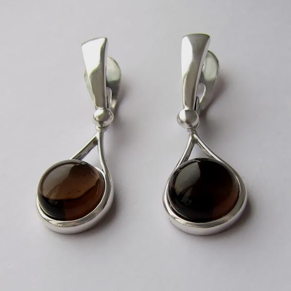 Серебряные серьги с раухтопазом, арт.ИКАП4Н