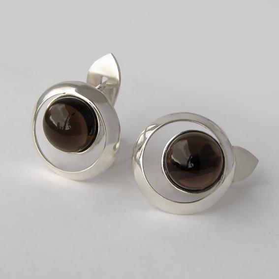Серебряные серьги с раухтопазом, арт. КК4П