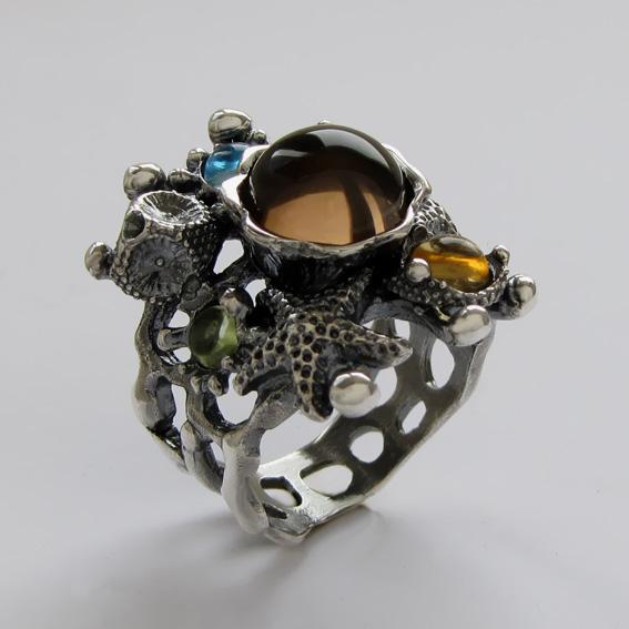 Кольцо с раухтопазом, цитрином, топазом, хризолитом, арт. МЗ3