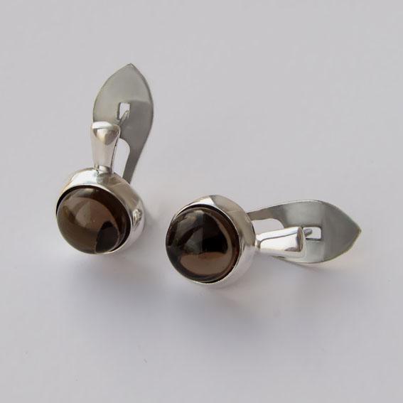 Серьги из серебра с раухтопазом, арт.НЗ4П
