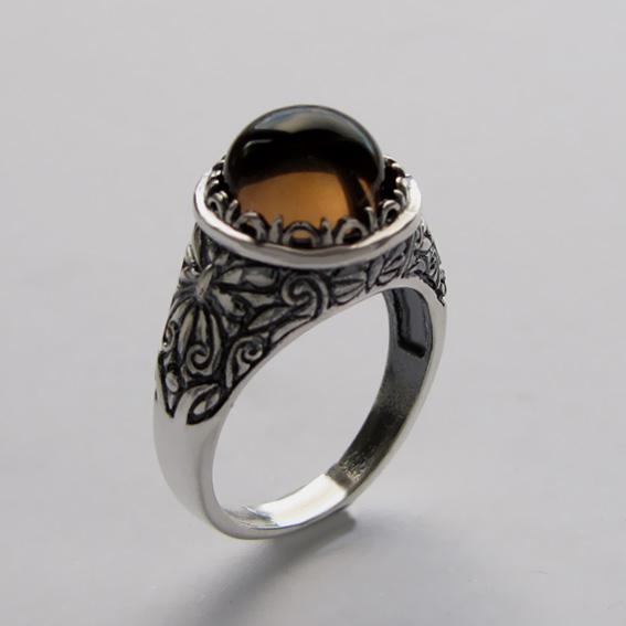 Серебряное кольцо с раухтопазом, арт. ТЕРН3