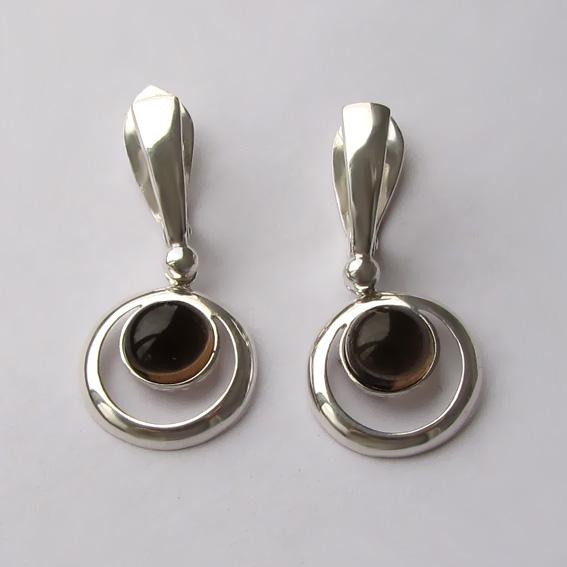 Серебряные серьги с раухтопазом, арт. КК48