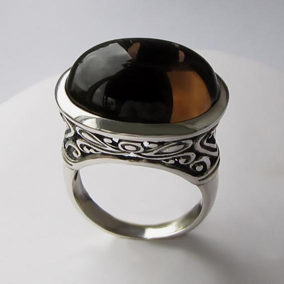 Кольцо с раухтопазом, арт. ОВВ3