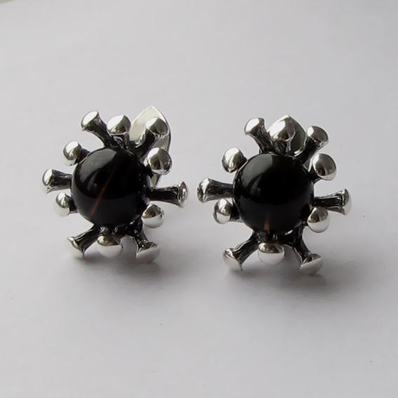 Серебряные серьги с раухтопазом, арт. Р4П