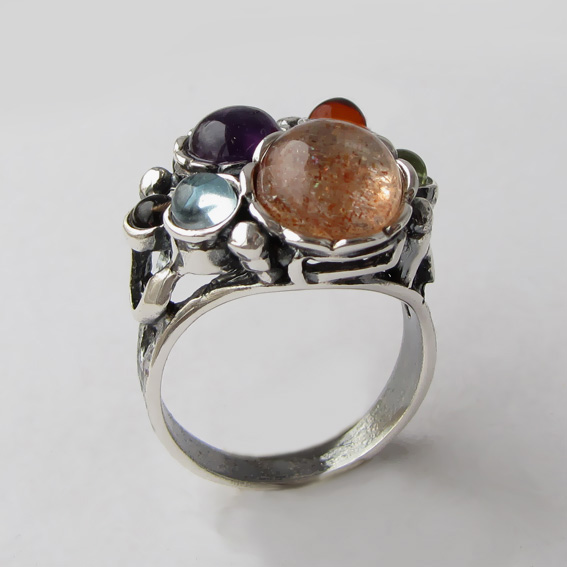 Кольцо с солнечным камнем, топазом, раухтопазом, гранатом БУК3Н