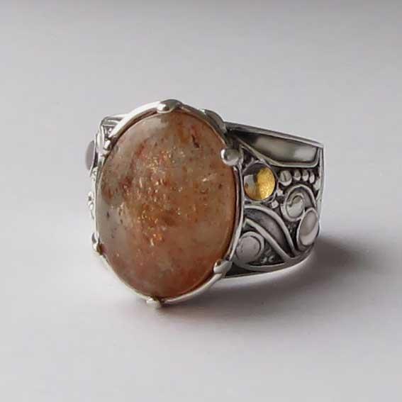 Кольцо с кварцем с включениями гематита, ПЕОР312