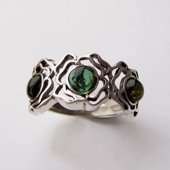 Кольцо с зеленым турмалином, арт. 3ОР3