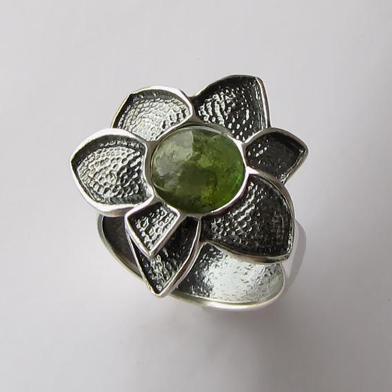 Кольцо с турмалином зеленым, арт. 6ПУХ3