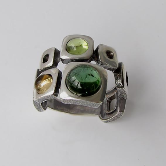 Кольцо с турмалином, цитрином, хризолитом, арт. 8КВ3