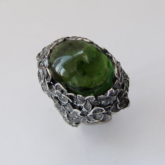 Кольцо с турмалином зеленым, арт. БУК3