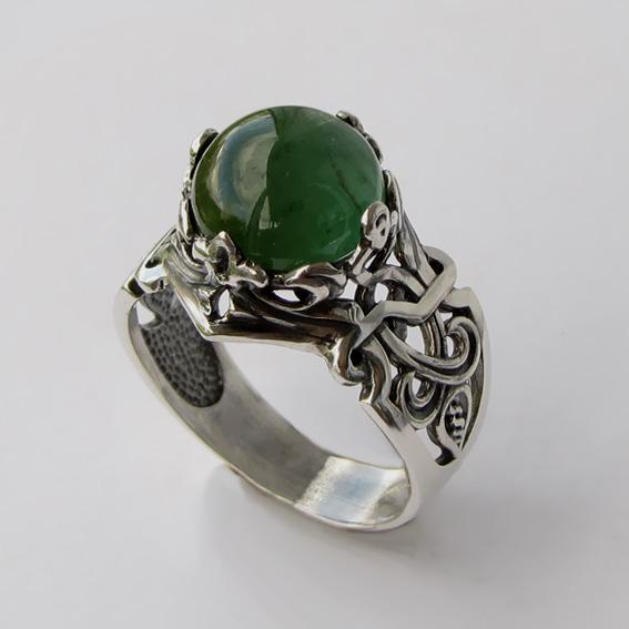 Кольцо с турмалином зеленым, арт. ЦИК3
