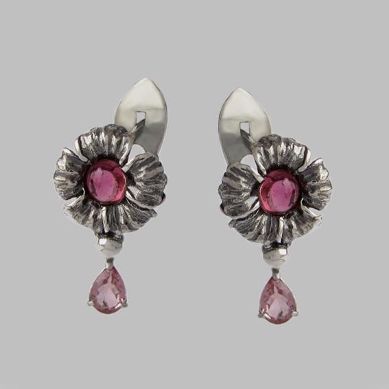 Серьги с турмалином розовым, арт. ЦВ5СЛ4П