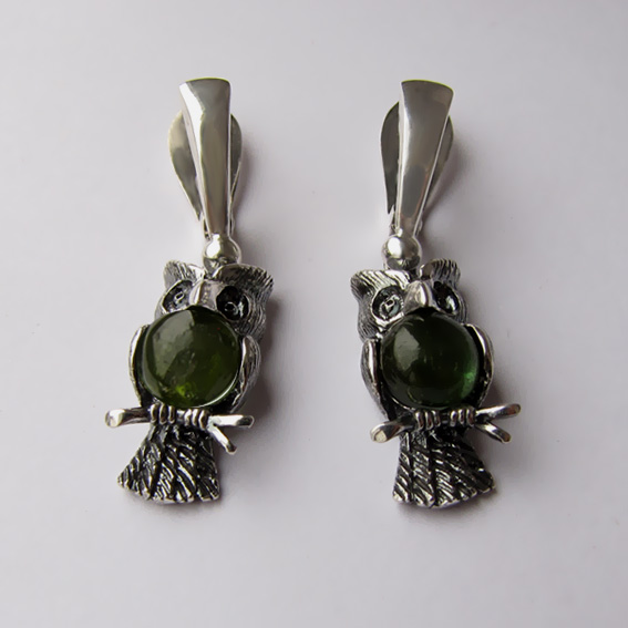 Серьги с турмалином зеленым, арт. ФИЛ4