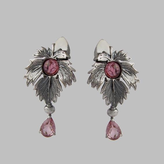 Серьги с турмалином розовым, арт. ЛИС4П