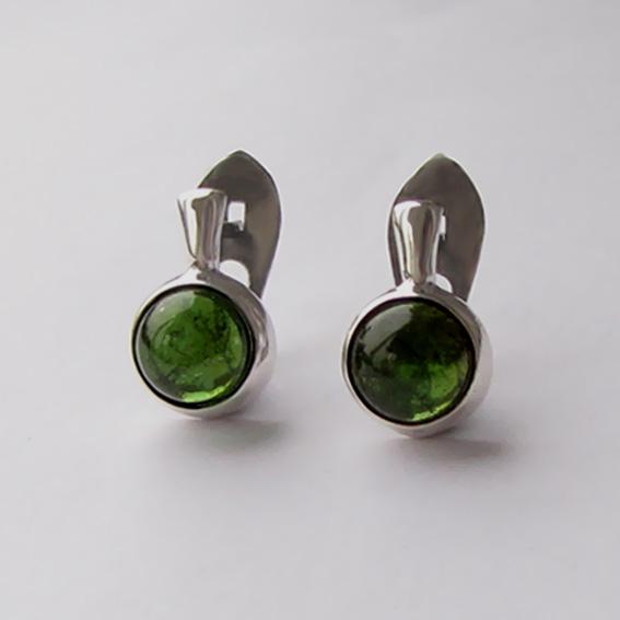 Серьги с турмалином зеленым, арт. НЗ4П