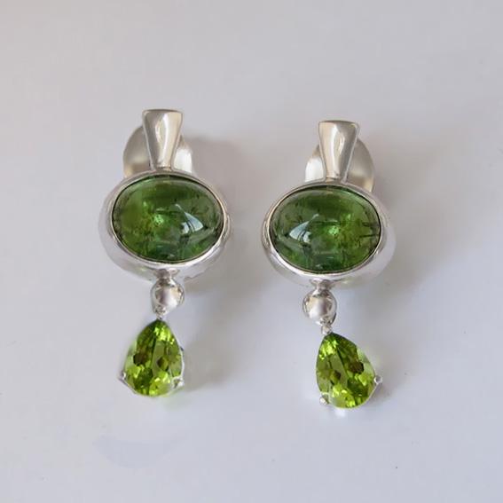 Серьги с турмалином зеленым, хризолитом НЗОВ4СЛ
