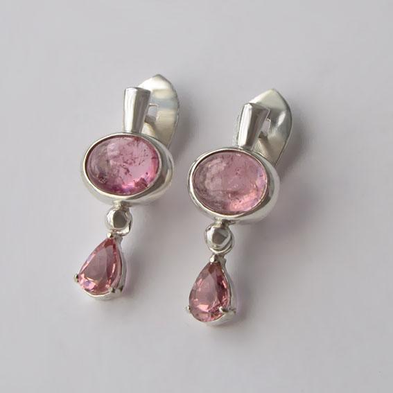 Серьги с турмалином розовым, арт. НЗОВ4СЛ