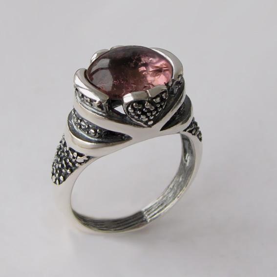 Кольцо с турмалином розовым, арт. ПЕБА3